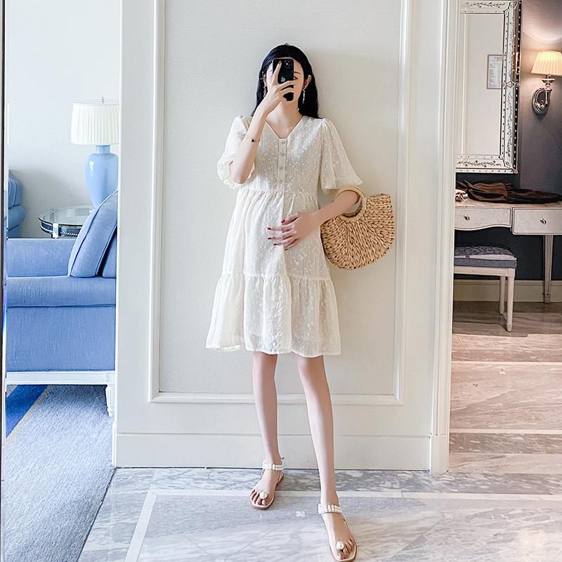 孕妇连衣裙夏装2020网红新款潮辣妈时尚个性网红洋气纯色夏天裙子