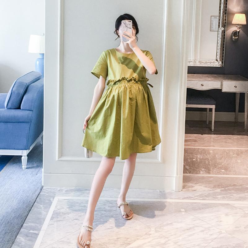 孕妇夏装连衣裙孕妇装夏季新款时尚宽松大码纯色短袖中长款裙子潮11-30新券
