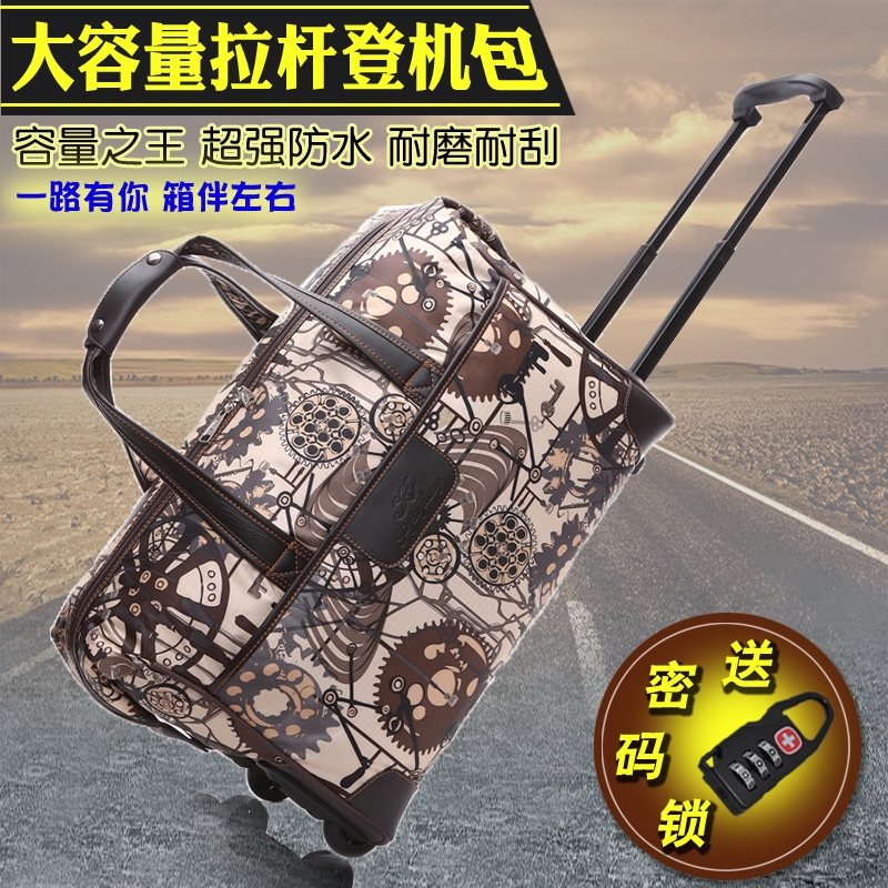 2019 new European and American trolley bag travel bag mens Oxford cloth luggage bag womens large capacity business trip boarding bag