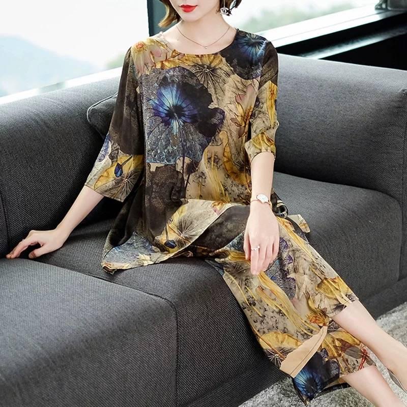 99复古印花套装女大码裙裤夏季新款宽松短袖妈妈装时尚两件套潮