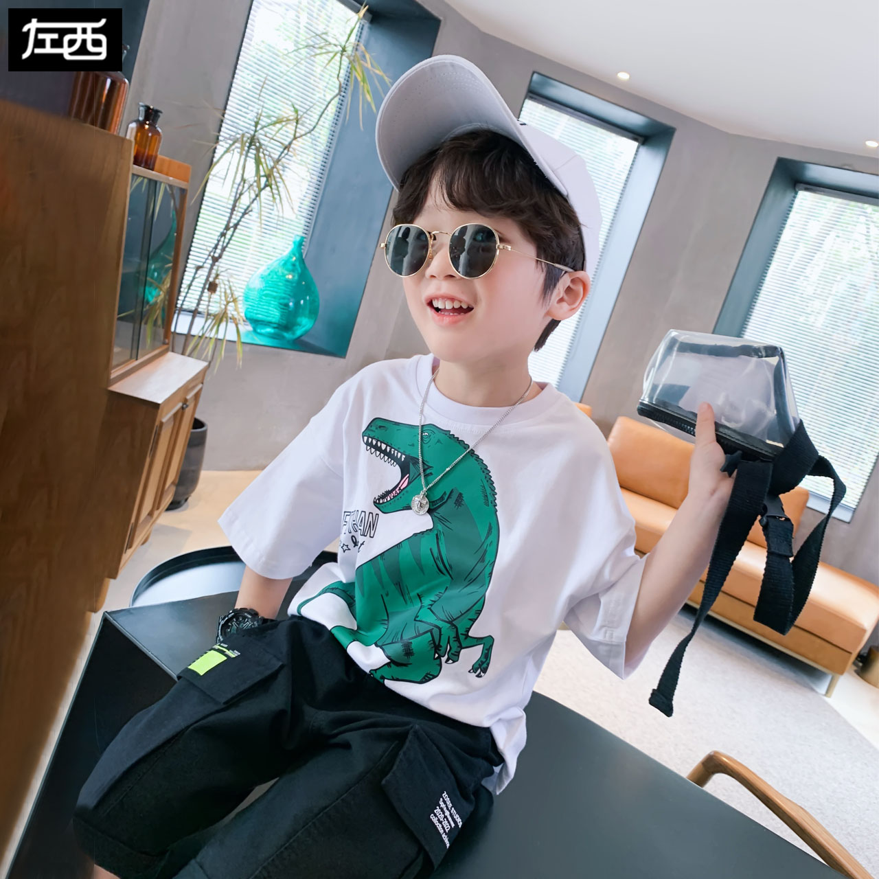 Zuoxi childrens wear boys T-shirt short sleeve summer wear pure cotton childrens half sleeve middle school childrens foreign style Korean fashion 2020 new style