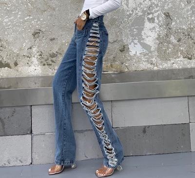 CHICHIDIVAS欧美高街裤子侧面全镂空加长款高腰个性破洞牛仔裤女