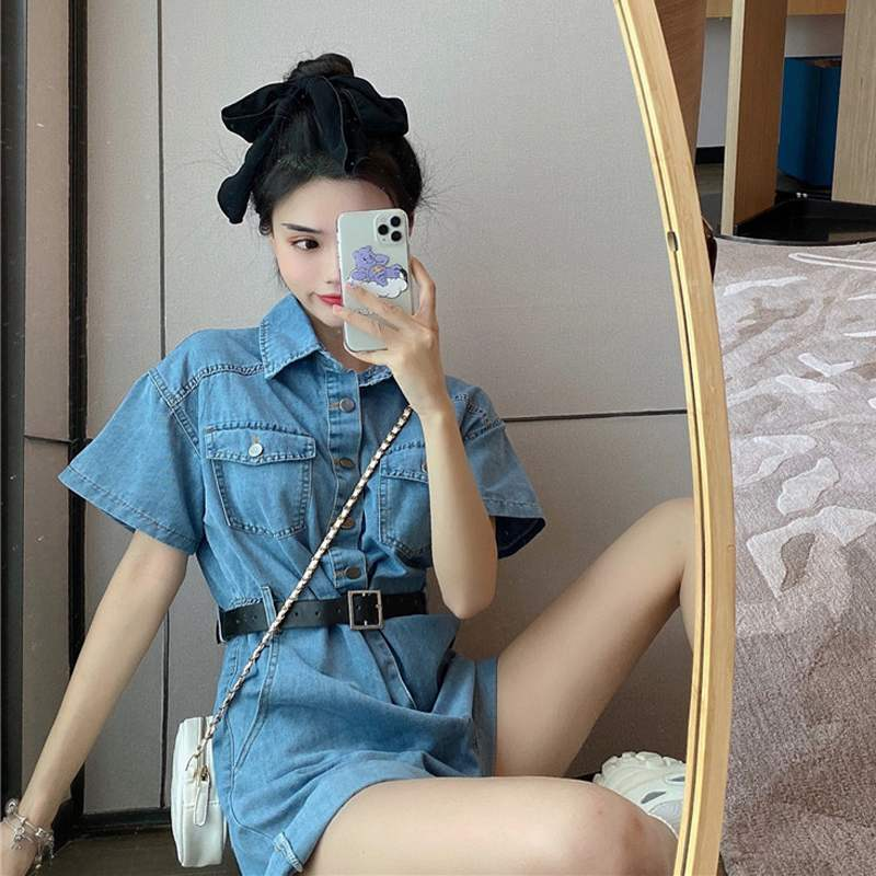 Denim one-piece shorts womens summer one-piece pants High Waist Wide Leg overalls suit thin pants show thin and versatile trend