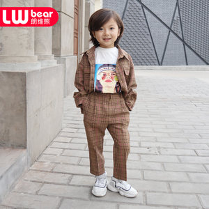 朗维熊男童春装格子衬衫潮男童工装裤两件套男童西装套装童工装套