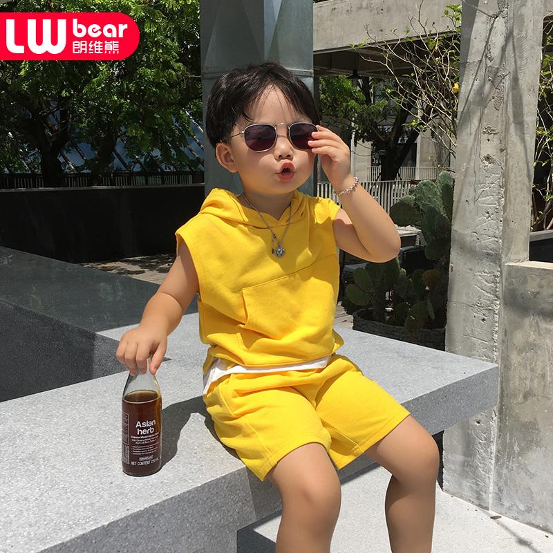 朗维熊童装2018夏季新款男童无袖连帽背心套装儿童运动休闲两件套