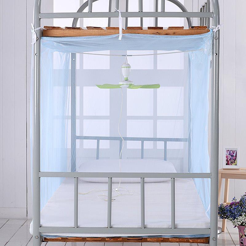大学生上下铺寝室拉链蚊帐加密有底无支架1.2米公主单人床方帐