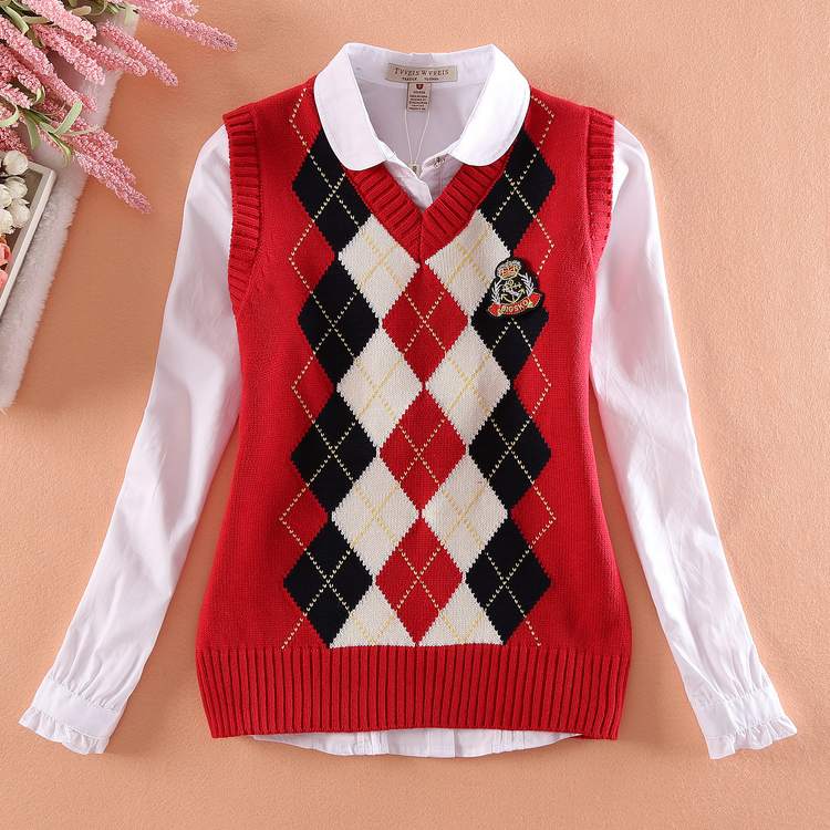 Autumn and winter bear British style girl bear middle school student Plaid Cotton Knitted Sweater V-neck vest vest