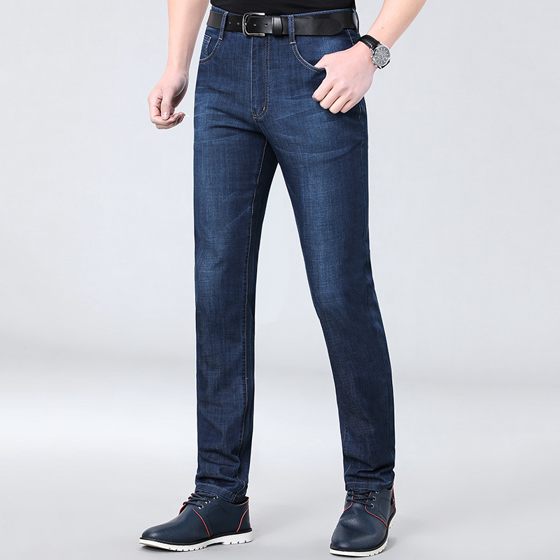 Top brand new product brand 2021 spring and summer middle aged mens fashion jeans straight tube business leisure pants package