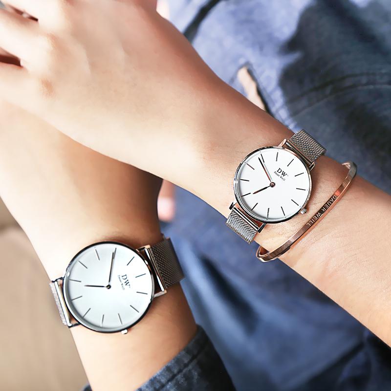 DauerWeill正品代購dw手表男士名牌時尚歐美防水女士鋼帶情侶腕表