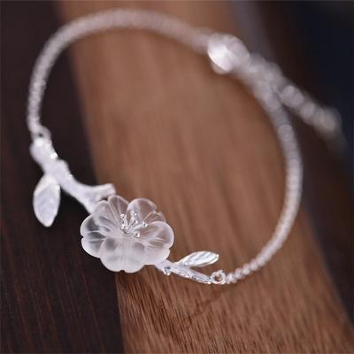 纯银饰品原创设计手工白水晶雨中花手链文艺清新礼物品质包邮