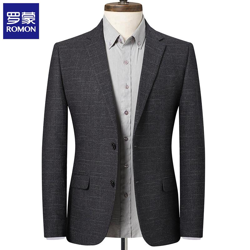 Romon/罗蒙2020春秋季中年商务休闲小西装男士外套修身单件西服
