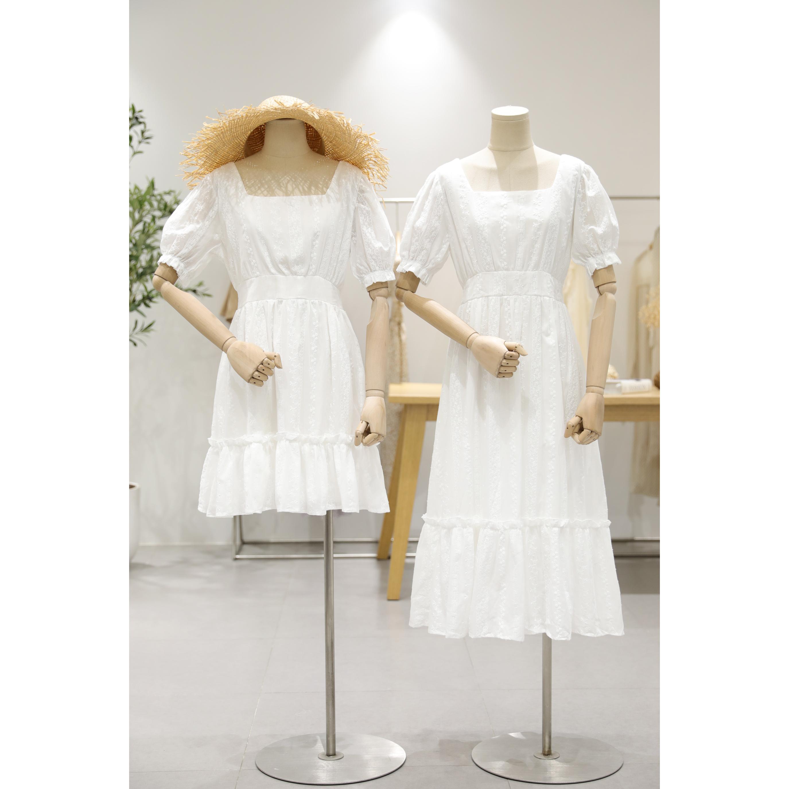 不一样的闺蜜装裙子仙女超仙森系甜美法式初恋裙棉麻白色连衣裙夏图片