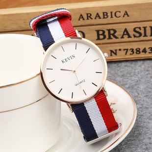 帆布带防水超薄男士韩版简约手表