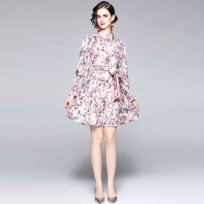 现货实拍5652-粉色中长款小立领印花连衣裙 a字中长款复古连衣裙
