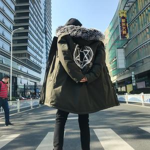 可拆卸毛领 秋冬季中长款棉衣外套男 军绿 QT2027-9013-P100