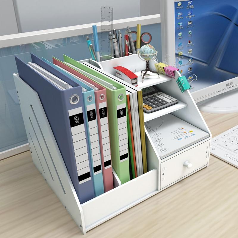 文件架办公用创意文件夹收纳盒多层桌面简易资料架置物架书立栏框