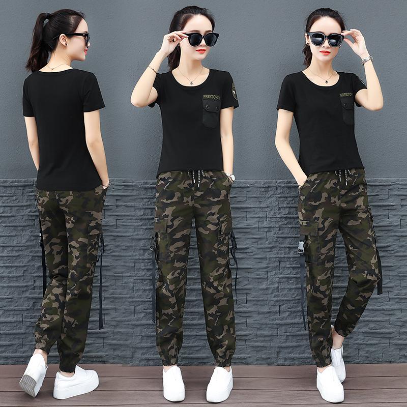 夏季迷彩服套装女新款时尚韩版黑色圆领T恤大码工装裤休闲两件套11月07日最新优惠