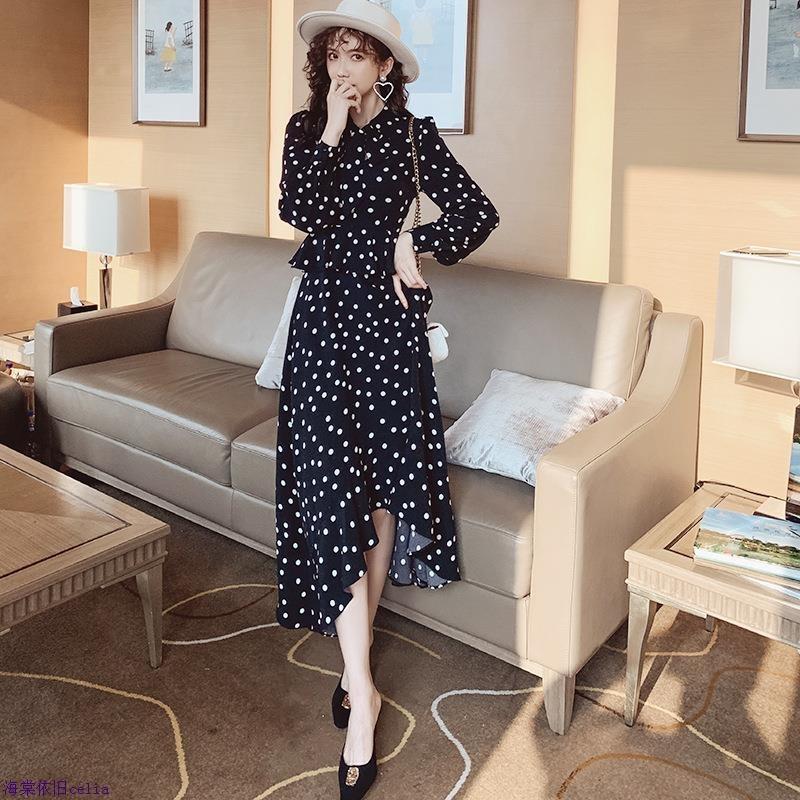 印花不规则高腰波点荷叶a字裙中长款修身连衣裙女2020春季款韩版