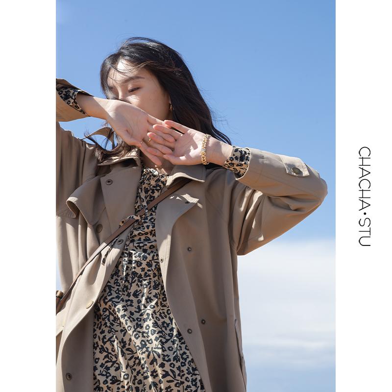 CHACHA 韩版卡其色高端大气宽松中长款气质风衣女短款外套小个子