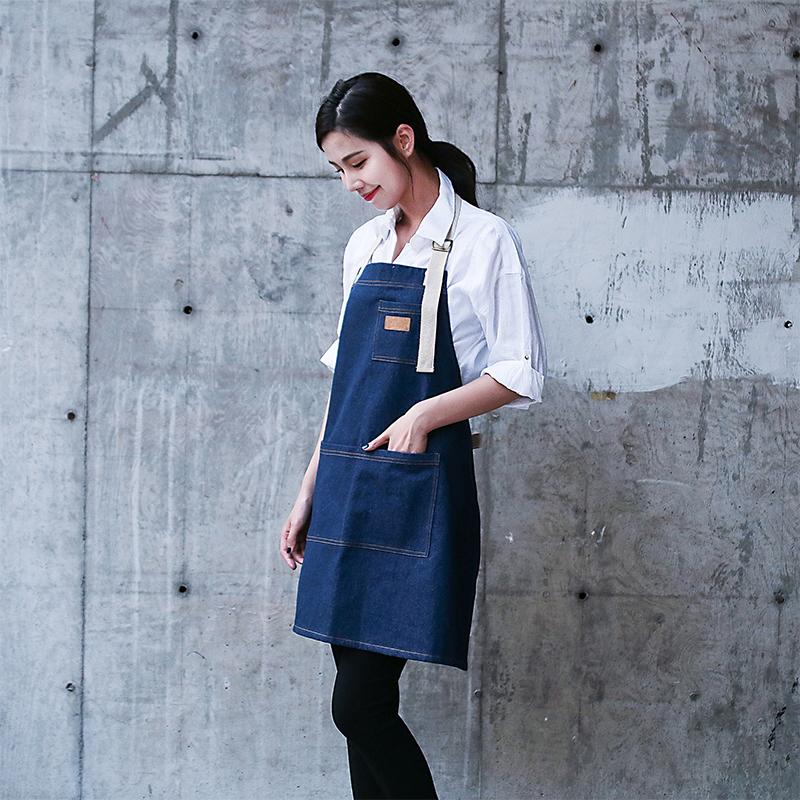 韩版时尚牛仔挂脖围裙西餐厅烘焙咖啡奶茶美甲情侣定制工作服围兜