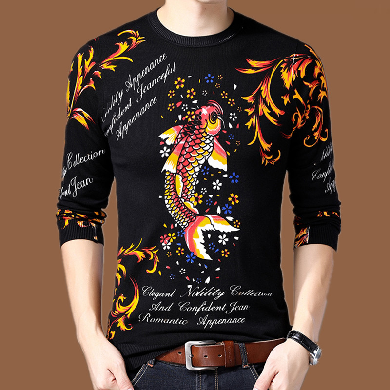 2021 spring t-shirt mens printed fish pattern thin flower sweater personalized knitted bottomed t-shirt mens fashion