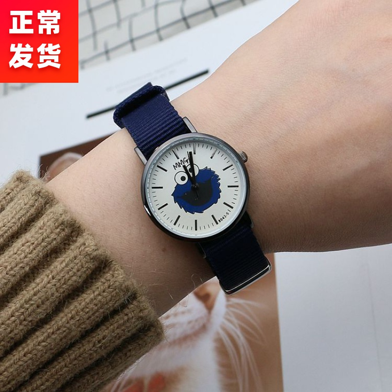 Watch waterproof, fall proof, pointer type canvas strap for middle school students, junior high school girls, Korean version, simple electronic watch package