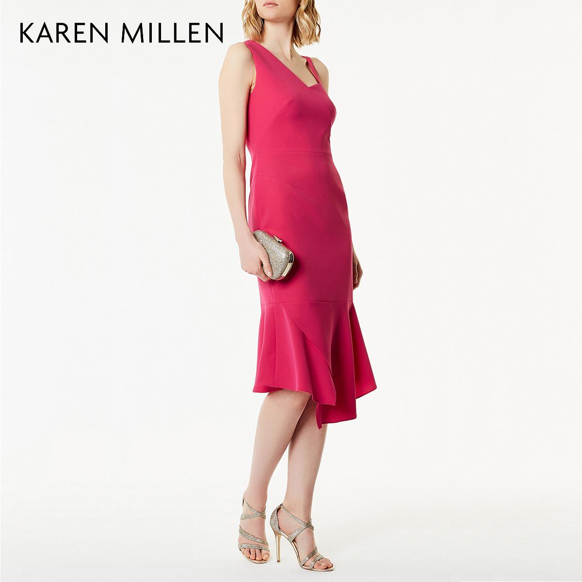 KAREN MILLEN凯伦米莲英伦女装2018夏纯色荷叶摆连衣裙KM5182A702