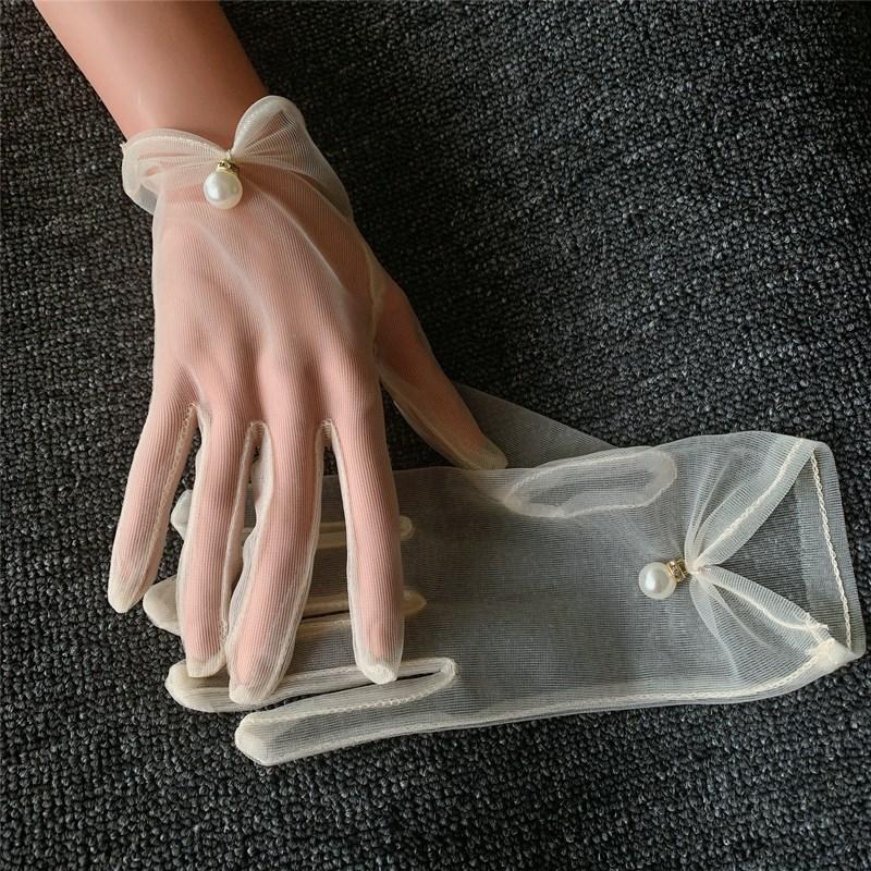 復古新娘婚紗手套短款白色香檳色網紗短款寫真拍照配飾影樓手套