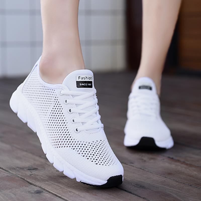 回力女鞋夏季镂空网面小白鞋女轻便运动跑步鞋百搭飞织透气休闲鞋
