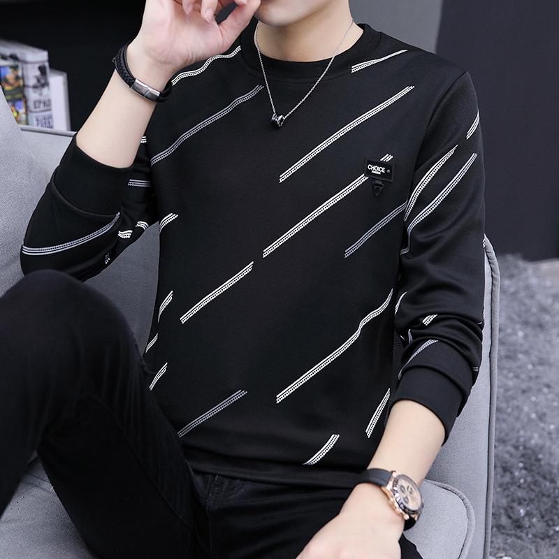 春秋季長袖T恤男青少年上衣打底衫學生韓版修身印花薄2019潮短袖