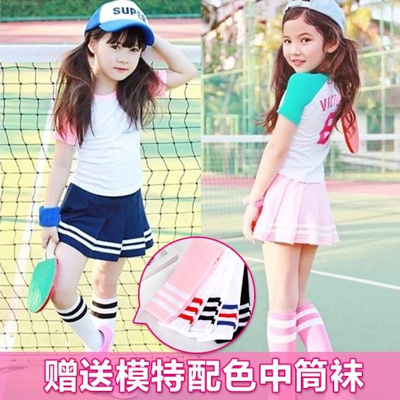 韩国童装2018女童夏装运动风简约儿童T恤短裙裤裙套装班服表演服