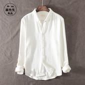 日系复古长袖衬衫男士休闲青年做旧宽松纯棉衬衣秋季厚款打底衫潮