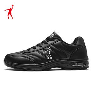 乔丹格兰男鞋全黑跑步鞋皮面防水减震气垫运动鞋男轻量休闲旅游鞋