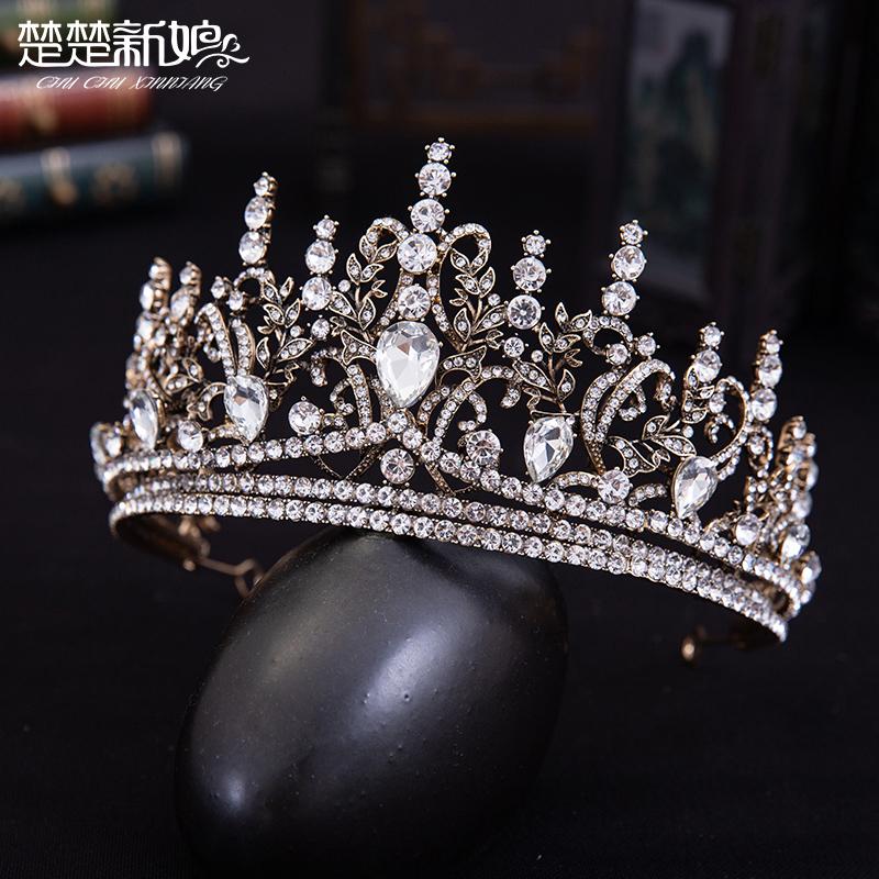 王冠宴会生日头饰巴洛克结婚复古大气婚纱影楼配饰欧美皇冠新娘
