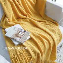 美式新款纯色针织毯毛线毯沙发装饰毯床搭床尾巾包邮米白色样板房