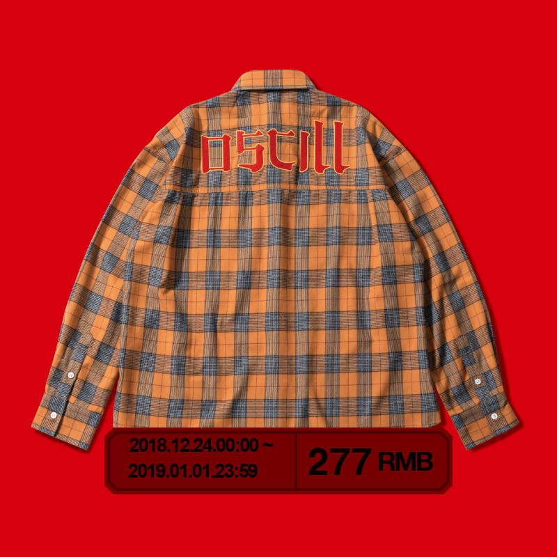 OSCill 中式笔画logo标识万寿菊黄 格子长袖衬衣衬衫外套 shirt
