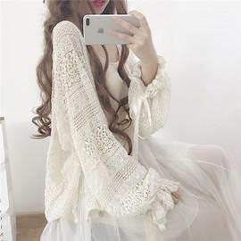 夏季韩版薄款上衣开衫外套镂空披肩仙女吊带裙外搭蕾丝雪纺防晒衫图片