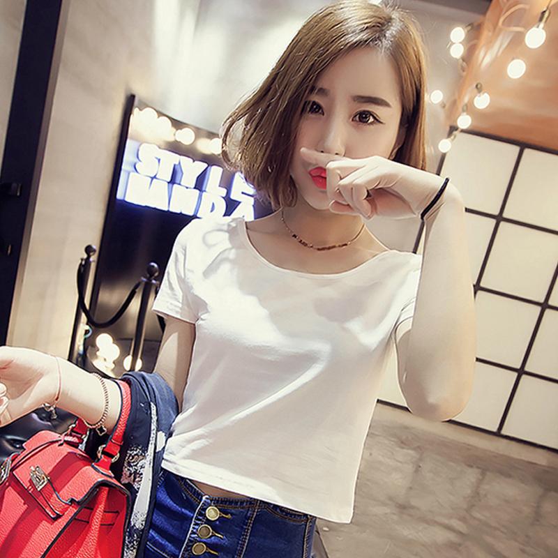 [2 pieces 59] 2020 new short sleeve T-shirt womens Korean open navel white black top pure cotton short tight summer