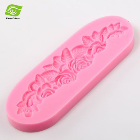 Rose Flower Silicone Press Mold Rectangle Cake Decoration Fo
