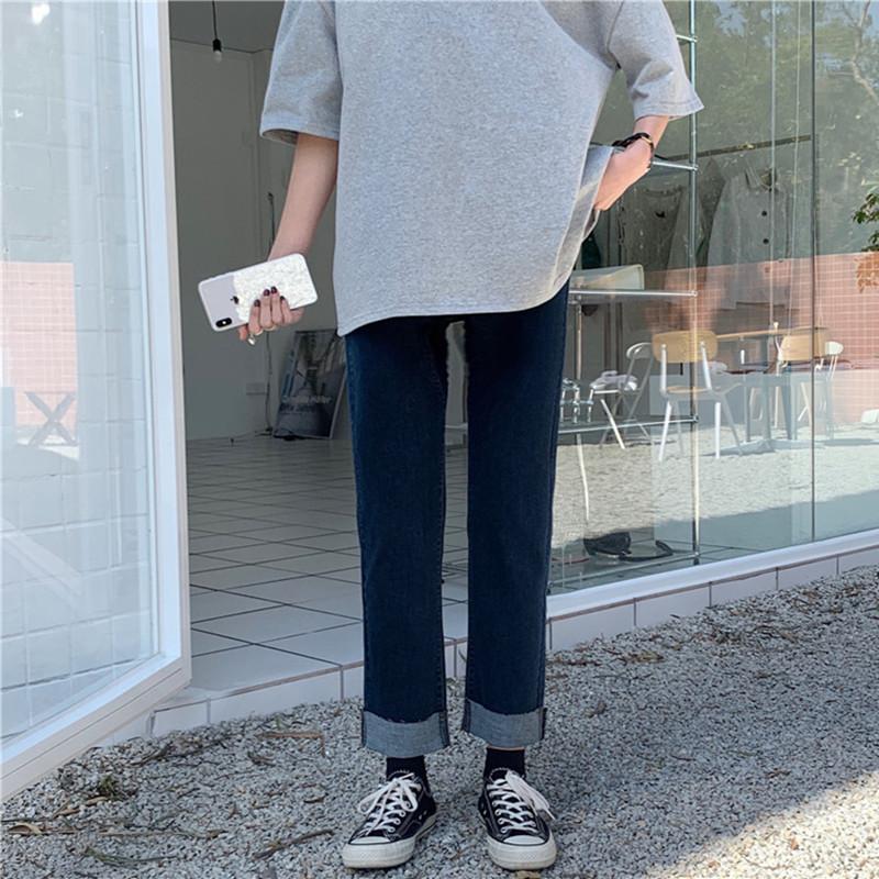 复古卷边牛仔裤女大码胖mm高腰显瘦直筒裤2020秋冬薄绒九分裤子潮