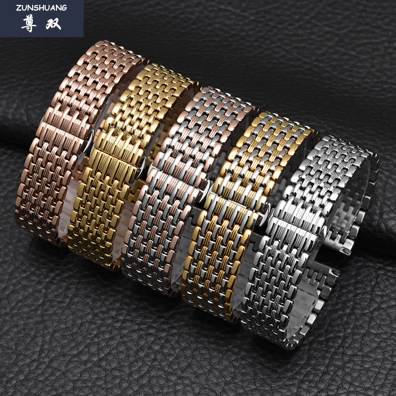 超薄不锈钢带蝴蝶扣手表链男女代用罗西尼DW精钢手表带16|18|20mm