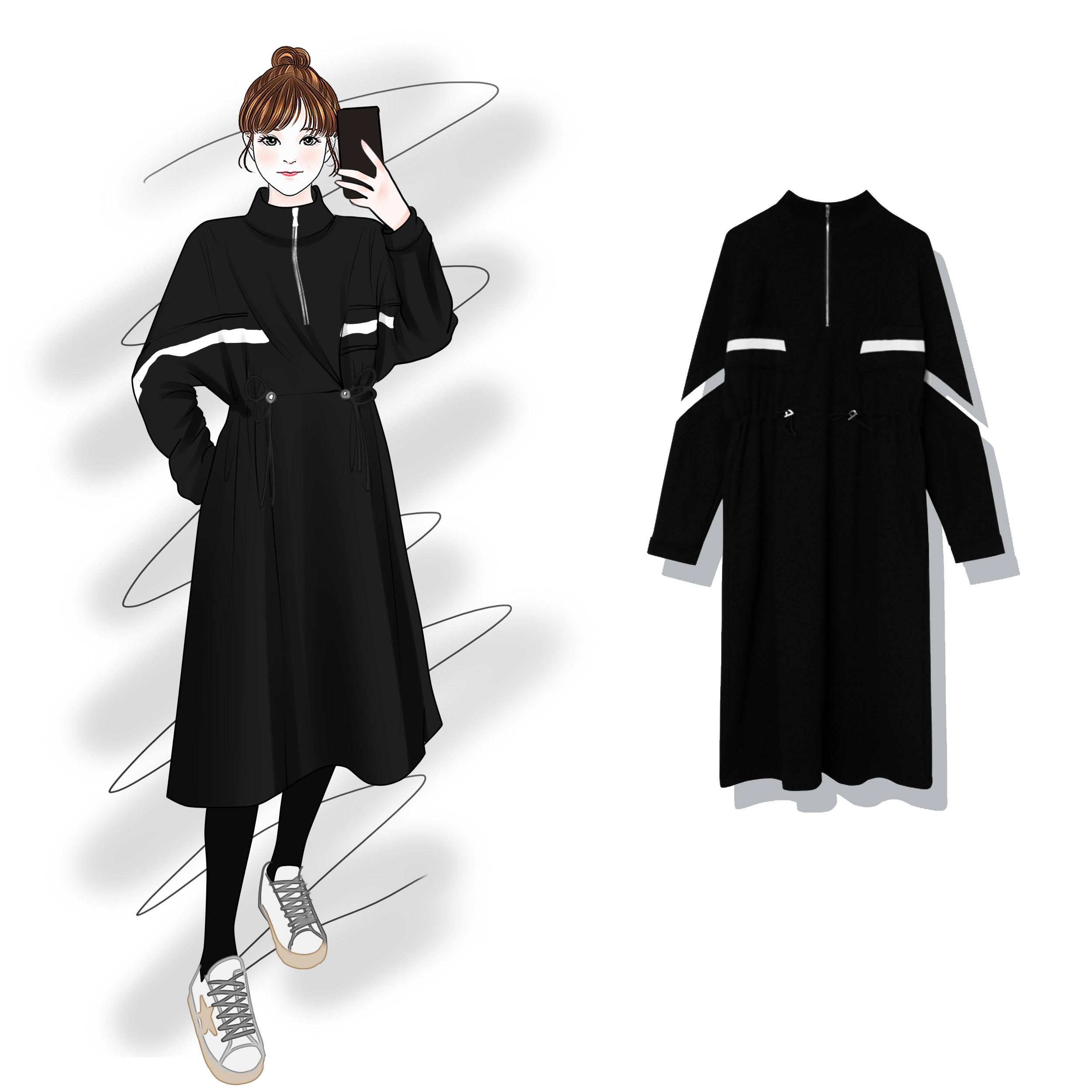 秋装女2019新款黑色韩版高腰卫衣11-03新券