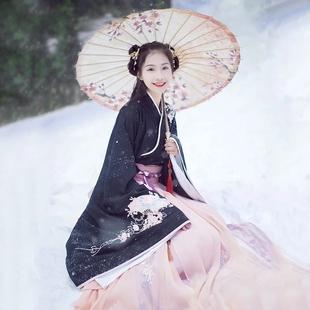 新款传统汉服女装大袖交领襦裙双层齐腰襦裙秋冬款日常古装服饰