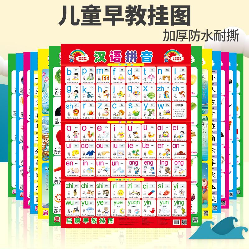 宝宝识字汉语拼音挂图幼儿童早教墙贴认知挂图婴儿启蒙无声拼音