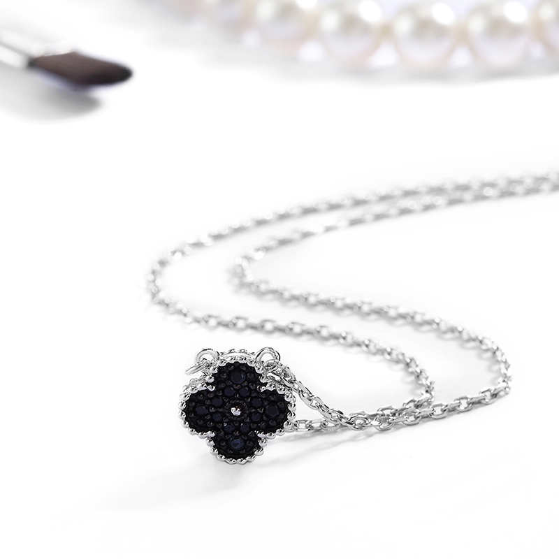 S925 Sterling Silver Black inlaid with diamond Clover Necklace female temperament Korean collarbone silver chain lucky grass Pendant