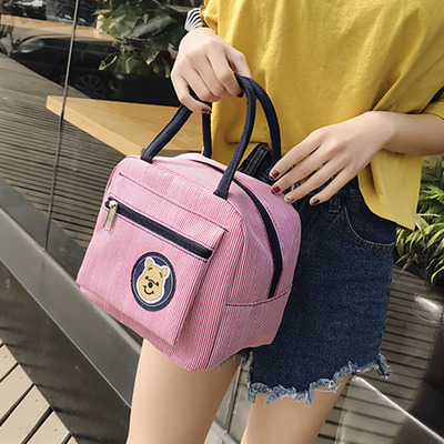 Bear lunch box bag canvas insulation hand carry lunch box bag portable lunch bag Korean version with rice small cloth bag mommy female bag