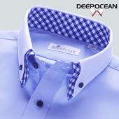 潮流帅气正装 寸修身 商务休闲秋季 韩版 纯棉衬衫 男长袖 蓝色衬衣男士