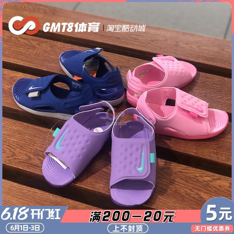 耐克亲子男女童鞋夏露趾魔术贴运动防水凉鞋386518 AJ9076 AJ9077