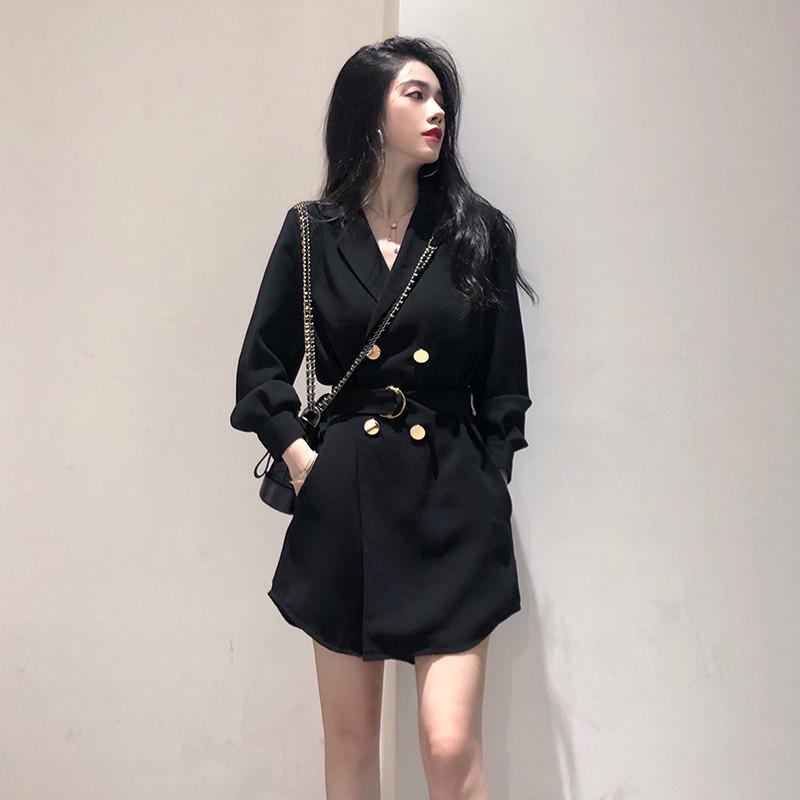 2019初秋新款韩版中长款小黑裙子满158.00元可用72元优惠券