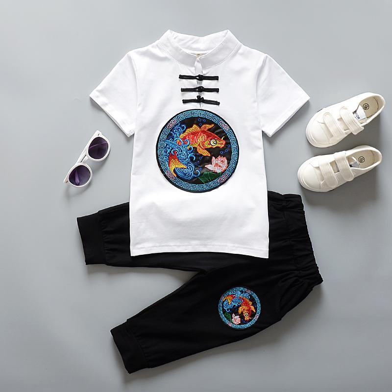 男童民族服装儿童套装汉服夏中国风古装短袖中式童装唐装民国衣服
